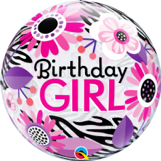 Zebra Print 'Birthday Girl' Bubble Balloon